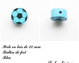 Wooden bead of 20 mm, flat bead, soccer ball: Blue