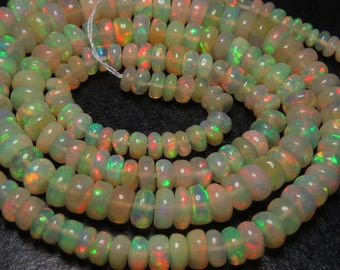 Ethiopian Welo OPAL - AAAA - High Quality So Gorgeous Smooth Polished Rondell Beads Full Flash Color Full Fire 16 Inches Long size 3.5 -5 mm