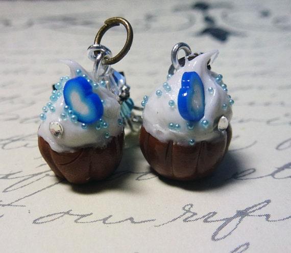 Blue Cupcake Earrings