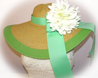 Monogrammed Natural & Mint Lime Green Floppy Hat  Bride, Gorgeous, Bridal Shower, Honeymoon or Bridesmaids, Beach, Derby, Carolina  Cup Race