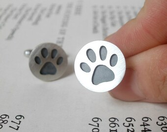 Oxidized Paw Print Cufflinks In Sterling Silver, With Personalized Message On The Back, Handmade In The UK