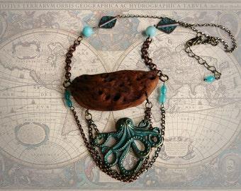 necklace, wood necklace, wood, octopus, art deco.