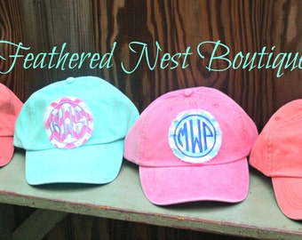 Monogram Baseball Cap - Monogrammed Hat - Custom Monogram Fabric Patch Hat - Bridesmaids Gift - Monogram Patch Baseball Hat - Bridesmaid