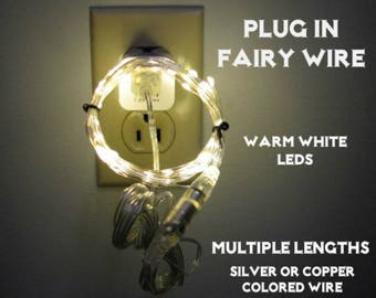 Plug In Fairy Lights - Silver or Copper colored Wire.  Choose from 8.5 - 300 Foot Lengths.  Warm White LEDs