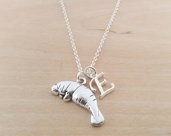Manatee Charm - Personalized Necklace - Custom Initial Necklace - Silver Necklace -Initial Jewelry - Monogram Necklace - Gift