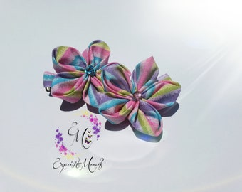 Flower hairclip. Flower hair wedding.flower hair pin.Bridal hairclip.Girl hair accessories.Ribbon flowers for weddings.Multicolored flower