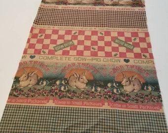 Vintage feedsack fabric 2 pieces