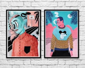 2 Art-Posters 30 x 40 cm - Duo Street Portraits