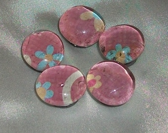 Small Flower Glass  Marble Magnets