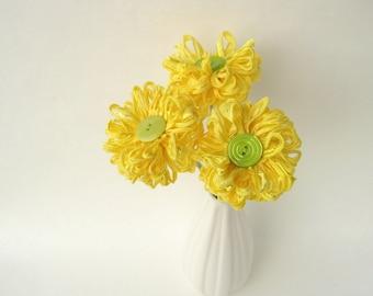 3 Lemon and Lime Fabric Flowers, handmade ribbon bouquet