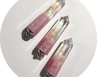 Opalescent Pink Crystal Pendant