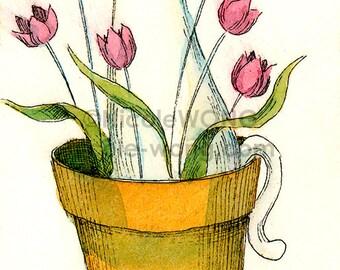ACEO Print -- Tulip cat