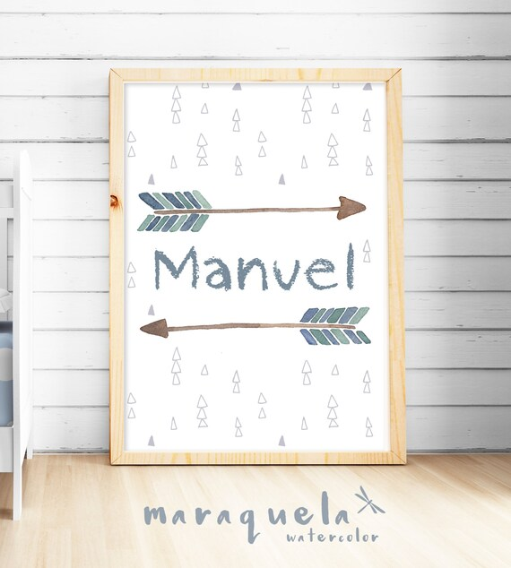 Custom INDIAN ARROWS for Boy,baby SHOWER Customized name,watercolor print for babies,nursery room,children,cute decor,bedroom kids,wall art
