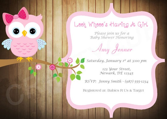 Wood owl baby shower invitation pink owl baby shower invite filmwisefo