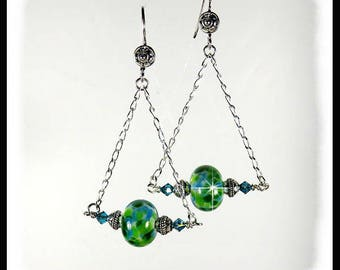 2293, Green and Aqua lampwork glass earrings with Indocolite Swarovski crystals, blue green earrings, long earrings, green dangling earrings