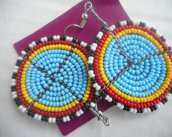Tiny bead bicycle wheel pair of earrings