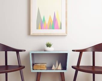 Mountain Print, Minimal Modern Landscape Print in Pastel Colours - Pastel Peaks