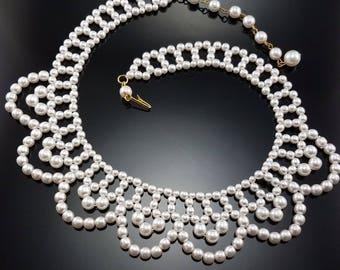 Vintage Pearl Bib Necklace Faux Costume Woven Bridal Choker