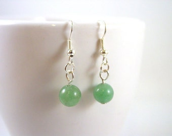 Green Aventurine Earrings - Green Gemstone Earrings - Green Earrings