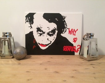 """The Joker """"Why So Serious"""" hand painted canvas"""