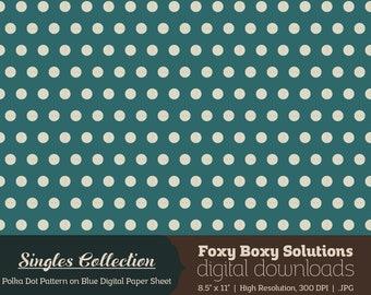 Polka Dot Pattern on Blue Printable Digital Paper - Instant Download Supply for Scrapbooking & Crafting - Single Sheet Printables