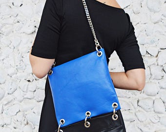 Genuine Leather Bag 3 in 1, Black and Blue Leather Bag TLB35, Detachable Genuine Leather Bags by Teyxo