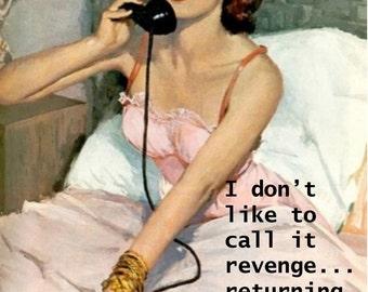 "FUNNY PULP/ILLUSTRATION relationship card ""Revenge"" vintage, retro just because card...[814-152]"