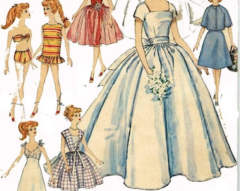 Bridal Gown PATTERN for Barbie 1960s Doll Clothes PATTERNS 4510 Teen age Fashion Dolls Swim Suit Evening Gown Suit Dress w Full Skirt 4510