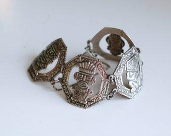 Vintage Guatemalan ethnic silver bracelet / 900 silver Mayan totem gods wide link bracelet / South American