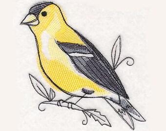 Goldfinch in Watercolor Tea Towel | Bird Kitchen Towel | Embroidered Kitchen Towel | Personalized Kitchen | Embroidered Tea Towel