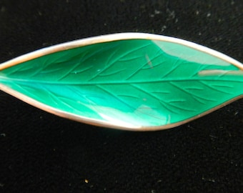 A David Andersen Norway brooch in sterling enamel in green modernist viking leaf design 1950s