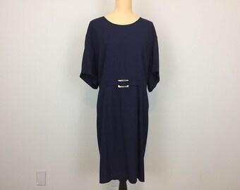 Navy Blue Dress Size 2X Dress Short Sleeve Womens Dresses Midi Minimalist Rayon Work Dress Size 22 Dress Plus Size Womens Clothing