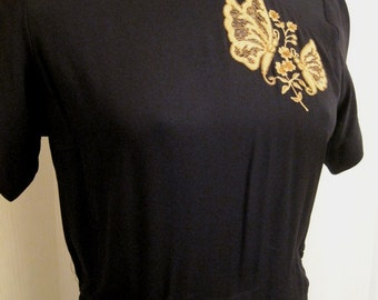 Gold Embroidered Black Rayon Dress