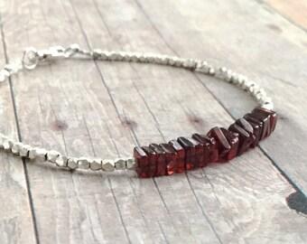 Natural Garnet Jewelry | January Birthstone Bracelet  | Garnet Stones |Minimalist Bead Bracelet
