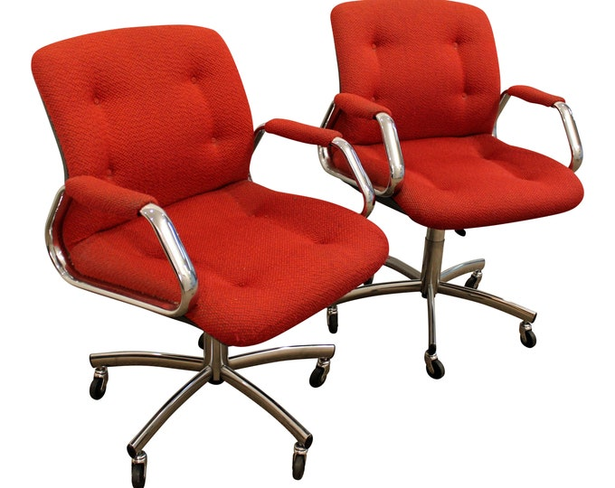 Pair of Mid-Century Danish Modern Red Chrome Steelcase Office Chairs on Wheels
