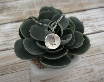 Tiny Hand Stamped Evergreen Tree Necklace
