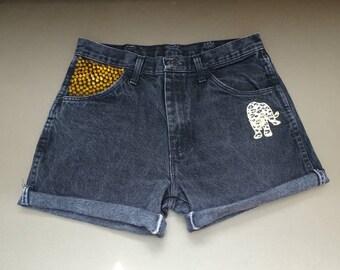 Rustler shorts 1980's vintage shorts cutoff shorts gold studded shorts 80's denim short black denim shorts festival shorts waist 32 (UK12)