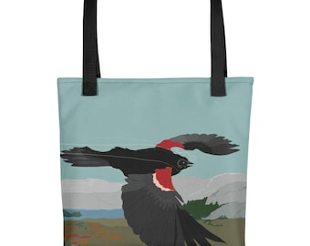 Red Winged Black Bird Flight Tote bag