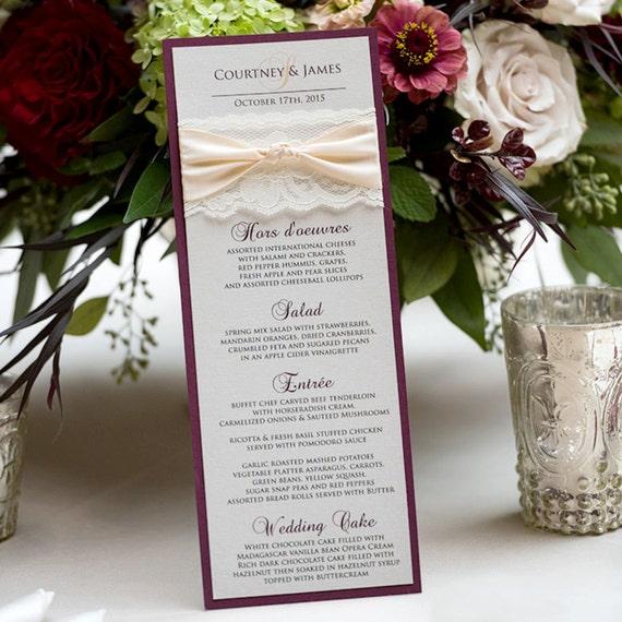 25 Pack of Blush and Gold Wedding Menu - Ivory Lace Wedding Menu - Vintage Menu - Couture Wedding Menu - Vertical Long Menu  (THE KNOT MENU)
