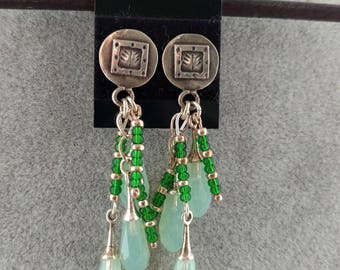 Green Swarovski Crystals Sterling Silver Earrings