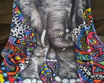 Elephant Blanket - Fleece - Blanket - Baby Blanket - Throw - Bedding - Baby Throw - Fleece Blanket - Home Decor - Abstract - Pop Art