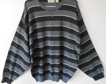 St. John's Bay men's pullover sweater gray black white stripes/100% cotton made in Hong Kong/Men's pullover sweater bold stripes/Size 2X