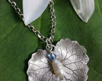 Fine Silver, Pearl, Handmade Leaf Necklace