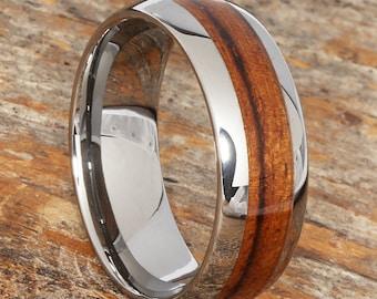 Tungsten wood ring Etsy