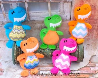 Dino stuffed toys.Embroidered dino toys.