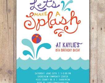 Splash - Custom DIGITAL Birthday Pool Party Invitation Invite for ANY AGE