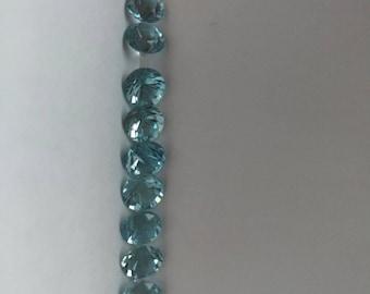 Aquamarine matched pair faceted gemstones 2pc 6mm
