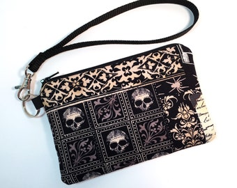 Wristlet, Skull Purse, Skull Handbag, Clutch, Gothic Purse, Gothic Handbag, Nevermore, Cell Phone Wallet, Rocker Chic, Edgy Handbag, Goth