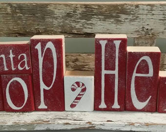 Santa Stop Here Glitter Blocks Red & White Set Of 10 Wood Decoration Holiday Blocks