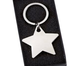 Engraved Star Shaped Keyring